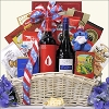 4th Of July Celebration: Gourmet and Wine Gift Basket