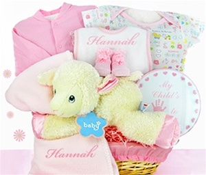 Baby Nap Time Personalized Baby Girl Gift Basket