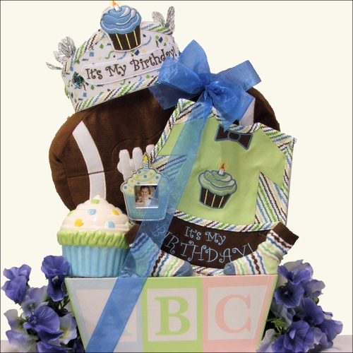 Baby's First Birthday ~ Boy: Baby Birthday Gift Basket