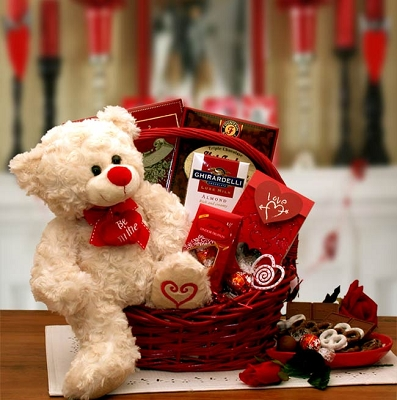 Be Mine Valentines Day Teddy Bear Gift Basket