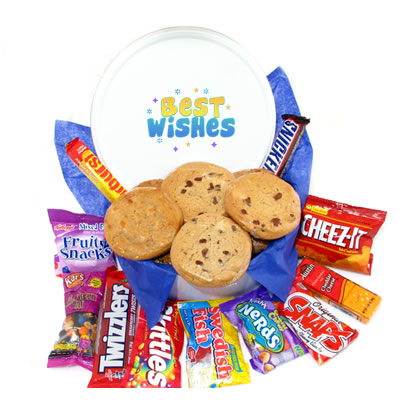 Best Wishes Tin of Goodies - 6 Gourmet Cookies & Snacks