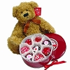 Tin of 16 Chocolate Heart Sprinkles Oreos® & Large Russ® Bear