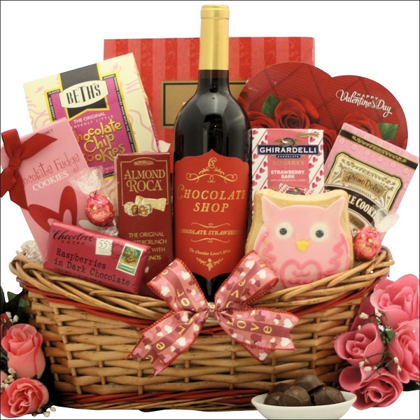 Chocolate Shop Valentine's  Day Chocolate & Wine Gift Basket