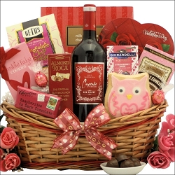 Chocolate Shop Valentine's  Day Cupcake Chocolate & Wine Gift Basket