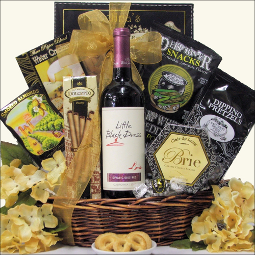 Diva Women's Birthday Wine Gift Basket: Red Or White
