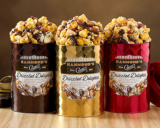 Drizzled Delights: Gourmet, Caramel Chocolate Popcorn Tins