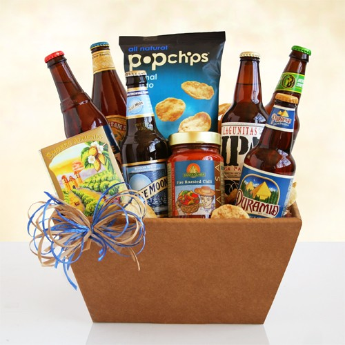 Deluxe Snacks and Beer Gift Basket