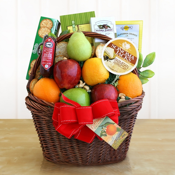 Deluxe Fruit and Cheese Gift Basket