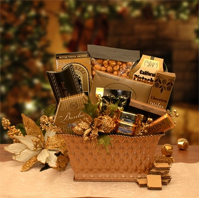 Golden Gift Of Gourmet: Holiday Gift Basket