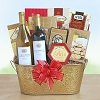 Golden Holiday Deluxe Wine Gift Basket