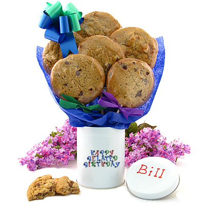 Happy Birthday Cookie Gift Tin - 6 Gourmet Cookies