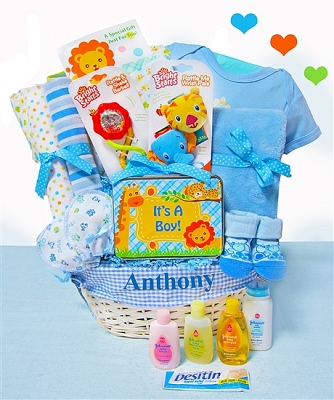 Jungle Friends Baby Boy Gift Basket