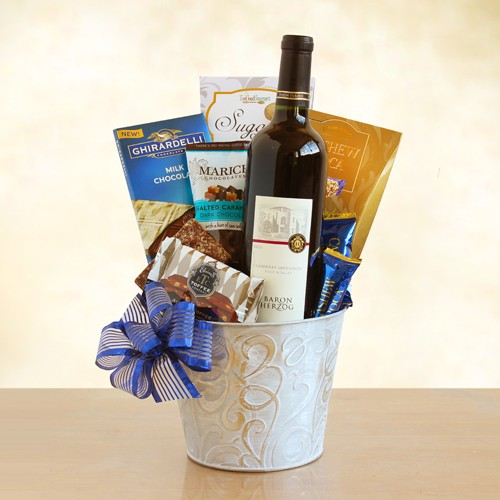 Kosher Silver Chocolate and Wine Sensations Basket