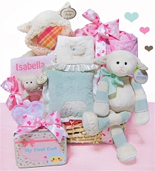 Baby Lamb: Personalized New baby Girl Gift Basket