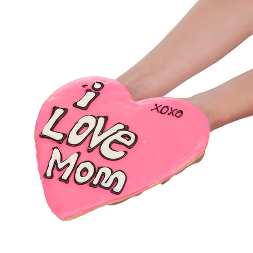 I Love Mom Heart Shaped Cookie