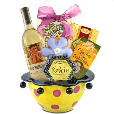 Mad Housewife Chardonnay Wine & Gourmet Gift Basket