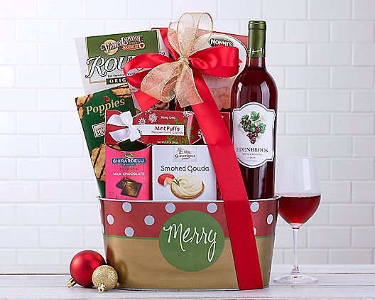 Merry Christmas White Zinfandel Holiday Gift Basket