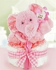 Minky Elephant One Tier Diaper Cake For Girl