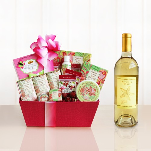 Mom's Pampering Spa and Wine Gift Basket