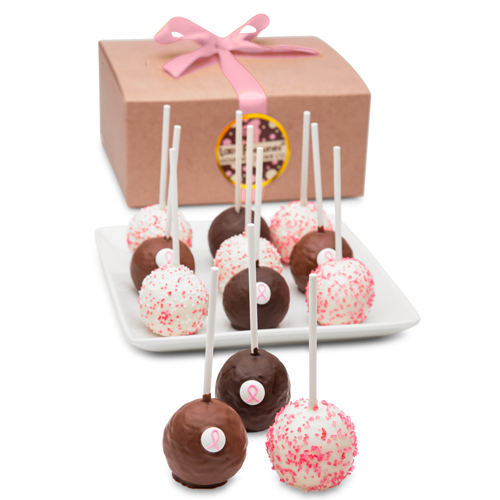 Pink Ribbon Truffle Cake Pops Gift Box