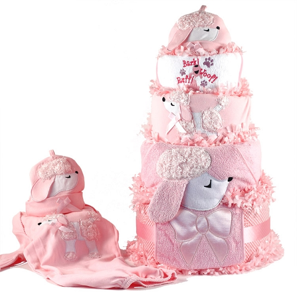New Baby Girl Poodle Diaper Cake Baby Girl Gift