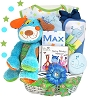 Puppy Fun: Personalized Baby Gift Basket-Boy