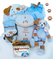 Puppy Love: Personalized New baby Boy Gift Basket