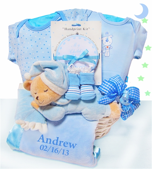 Sleepy Bear Nap Time Baby Boy Gift Basket