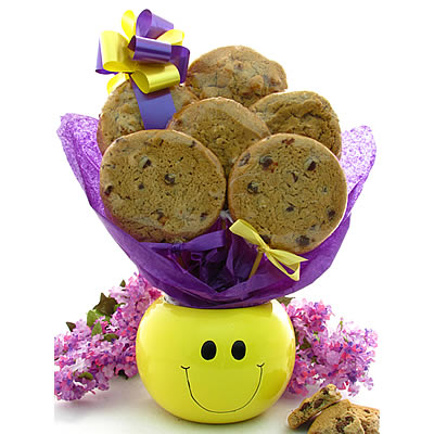 Smiley Face Cookie Gift  Planter - 6 Gourmet Cookies