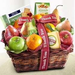 Thank You Orchard of Fruit Cheese and Nuts Gift Basket