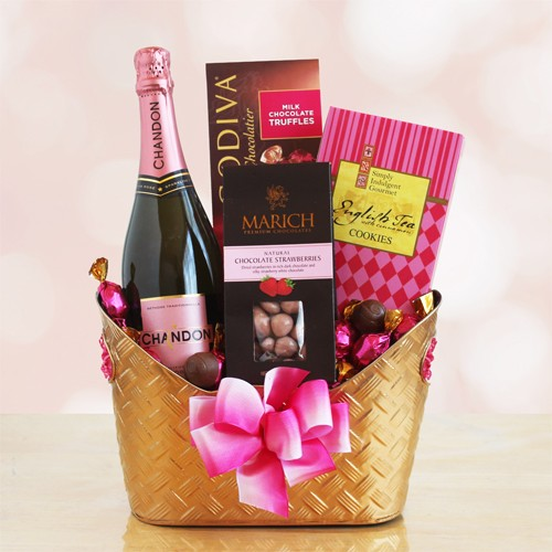 Tickled Pink Romance and Rose Valentine Gift Basket