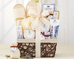 Luxury Lavender & Vanilla Bath Gift Basket for Her