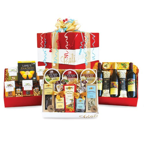 Wine, Cheese, Gourmet Food Celebration Gift Basket