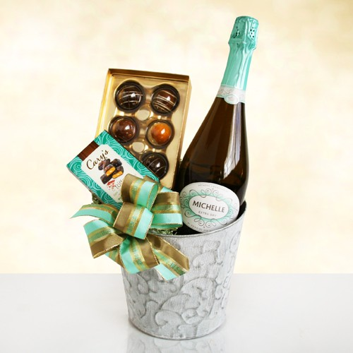 Chocolate & Sparkling Wine Elegance Gift Basket