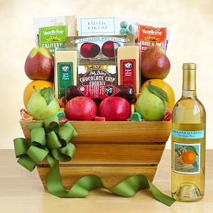 CALIFORNIA DELIGHTFUL FRUIT AND WINE GIFT BASKET