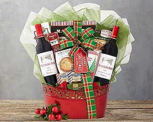 Merry Christmas Red Wine Holiday Selection Gift Basket