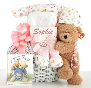 Personalized Miracle Baby: Baby Girl Gift Basket