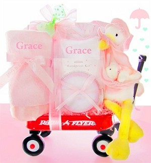 Personalized Stork Delivery: Baby Wagon Girl