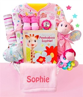 Safari & Friends: Personalized Baby Girl Gift Basket