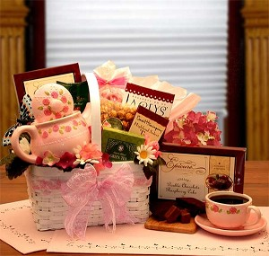Sophisticated Tea Lovers Gift Basket & Rose Tea Pot Set