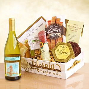Welcome Happy Times: Gourmet and Wine Gift Basket