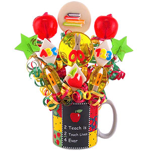 A+ Teachers Lollipop Candy Bouquet