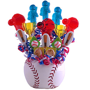 Baseball Player Lollipop Candy Bouquet