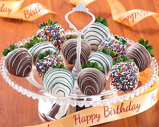 Birthday Chocolate Dipped Strawberries: Dozen