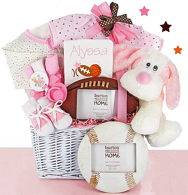 Classic All Star Baby Gift Basket: Girl