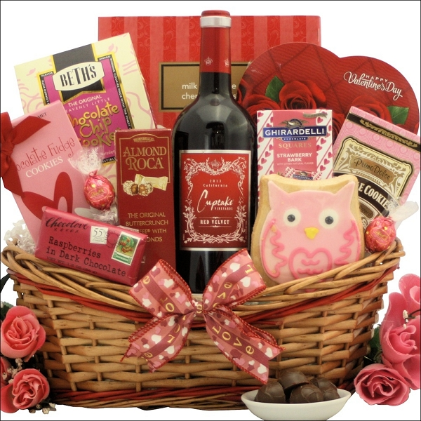Red Velvet Cupcake: Valentine's Day Chocolate  & Wine Gift Basket