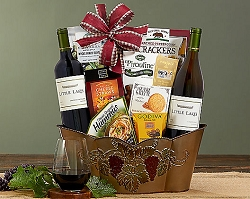 Deluxe Gourmet Cabernet Chardonnay Wine Gift Basket