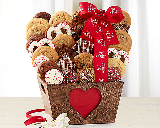 Deluxe Valentine's Day Brownie and Cookies Gift Basket