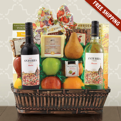 Fruit Cheese & Wines Gift Basket