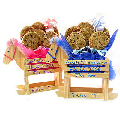 New Baby Rocking Horse Cookie Gift Bouquet: Girl or Boy